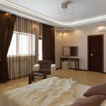 мебель венге в спальне с бежевым полом