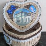 шкатулка плетеная сердце синее