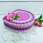 шкатулка плетеная сиреневая