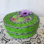 шкатулка плетеная зеленая