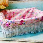шкатулка плетеная с розовой подскладкой