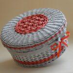 шкатулка плетеная круглая с бантом