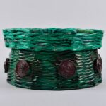 шкатулка плетеная зеленая круглая