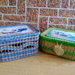 шкатулка плетеная синяя и зеленая