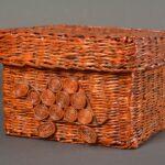 шкатулка плетеная квадратная коричневая