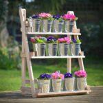 подставка для цветов с ведрами-горшками