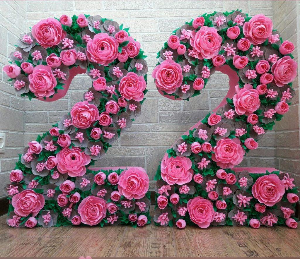 оформление цифры розами
