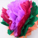 хризантема из цветных салфеток