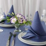 синяя скатерть и салфетки