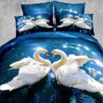 постельное с лебедями